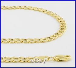 GENUINE 14K Yellow Gold 4MM Wide 7in Womens Cuban Link Curb Chain Bracelet 7