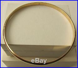 GENUINE SOLID 9K 9ct YELLOW GOLD 4 mm WIDE 70 mm INSIDE DIAMETER ROUND BANGLE