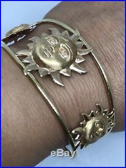 GOLD 14k Bracelet bangle cuff sun good luck womens Yellow Rose open wide 11.6g