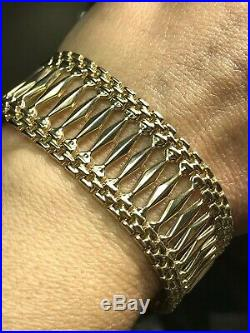 GOLD 14k Bracelet link cuff bangel chain real women Yellow 20.8g 7.25 wide