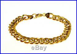 Genuine 9k Yellow Gold Double Curb Bracelet 16cm 7mm Wide Ladies Girls #125634