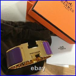 Genuine HERMES Clic Clac H Bracelet VIOLET PURPLE Gold Hardware PM Wide Bangle