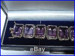 Gold Diamond and Amethyst Bracelet 5.00 CT Diamonds Wide Chunky Cuff