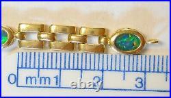 Gorgeous 6 Black Opal 14K Yellow Gold Bracelet 6mm Wide & Heavy 7