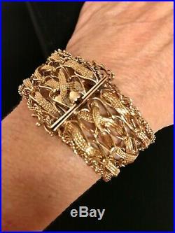 Gorgeous Estate Vintage 14K Heavy Wide Yellow Gold Bracelet 46.9 grams 8 in