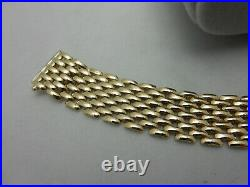 Gorgeous Italian 14k Yellow Gold Bracelet 15mm Wide & Heavy 7 1/8 Long