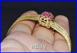 Gorgeous Italian 18K Solid Gold Natural Ruby Multi Strand Chain Wide Bracelet