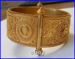 Greek Letters Christ Alpha Omega 21K Gold Hinged Wide Bracelet Etruscan Revival