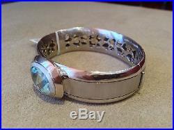 HAMMERMAN Oval Aquamarine Wide Bangle Bracelet in18K White Gold- HM1400AN