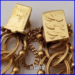 HEAVY Vintage 14K Gold Beaded Charm or Not Bracelet 7 Long 36grams WIDE