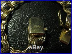 HEAVY WIDE 14K Yellow Gold TRIPLE LINK Charm Bracelet 25.4 g 7-1/2