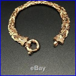 HEAVY WIDE 14 KT ROSE GOLD BYZANTINE GREEK KEY CHAIN BRACELET NO SCRAP 13.5 Gram