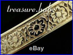 HEAVY & WIDE Genuine 9ct SOLID Yellow Gold BLOSSOM Etched BANGLE size 63mm