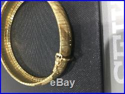 HEAVY WIDE ITALY 14K YELLOW GOLD DIAMOND CUT OMEGA Soft Bangle BRACELET 7 12mm