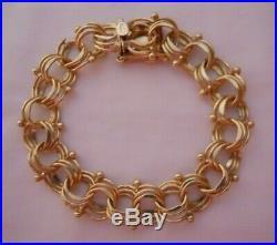 HEAVY WIDE Vintage 14k Gold FANCY TRIPLE LINK CHARM BRACELET 71/8 In 26.7G 18024