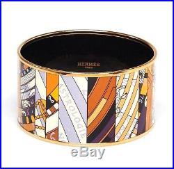 HERMES Beige/Purple Astrologie Printed Enamel Gold Plated Extra Wide Bangle Brac