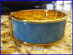 HERMES CLIC CLAC Clic H Wide Bangle Bracelet PM Azur Blue Enamel Gold Hardware