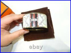 HERMES Extra Wide Gold Plated Equestrian Horse Enamel Bangle Bracelet-Authentic