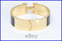 HERMES H Wide 18K Gold Plated Black Enamel Clic Clac Bangle Bracelet PM
