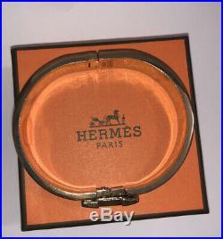 HERMES H Wide Gold Plated Blue Enamel Clic Clac Bangle Bracelet