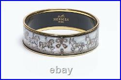 HERMES Paris Wide Gold Plated Black Blue Enamel Horse Equestrian Bangle Bracelet