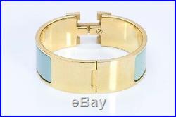 HERMES Paris Wide Gold Plated Turquoise Enamel H Clic Clac Bangle Bracelet PM
