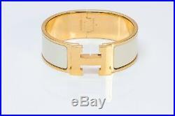 HERMES Paris Wide Gold Plated White Enamel Clic Clac Bangle Bracelet PM