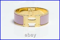 HERMES Paris Wide Pink Enamel Gold Plated H Clic Clac Bangle Bracelet PM