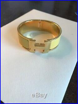 HERMES Wide Clic Clac H Bangle Bracelet Gold/Enamel Yellow
