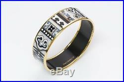 HERMES Wide Gold Plated Enamel Bangle Bracelet