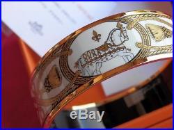 HERMES Wide Gold White Black Equestrian Goldtone Bangle Bracelet NWT