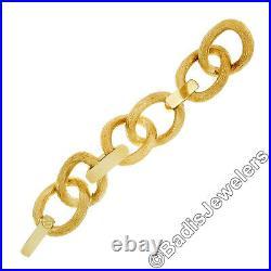 HUGE Italian Solid 18k Gold 7 32.25mm Wide Thick Brushed Statement Bracelet 82g