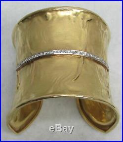 Hand Hammered 18k Solid Gold 2 1/4 Wide Cuff Bracelet