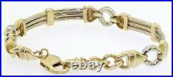 Heavy 14K 2-tone gold high fashion 8.9mm wide men's link bracelet