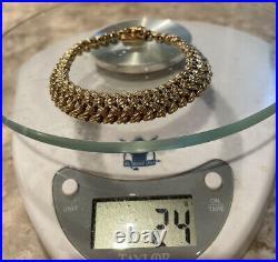 Heavy 14k Yellow Gold Mesh Link Bracelet 24 Grams 7 1/4 Long 3/8 Wide