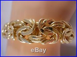 Heavy 16.45g Wide Italy 18k Yellow Gold Byzantine Curb Mesh Chain Bracelet 7 1/2