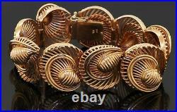 Heavy 1940's 18K yellow gold 22.7mm wide fancy link abstract bracelet