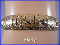 Heavy 21g Wide Italy 14k Yellow Gold Byzantine Diamond Cut Omega Bracelet 14kt