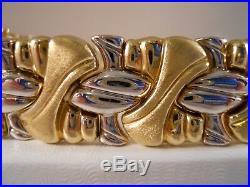 Heavy 22.9g Wide Rci 14k Yellow White Gold Byzantine Diamond Cut Omega Bracelet