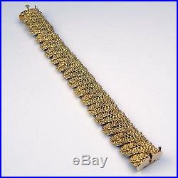 Heavy 3/4 Wide Leaf Leaves Motif Bracelet 18 kt Yellow Gold 6 7/8 #9186