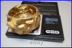 Heavy Gold 750 18K Diamond & Gemstone Hinged Wide Cuff Bracelet 1970's 77 Grams