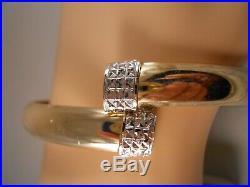 Heavy Wide 10kt Yellow Gold White Gold Diamond Cut Art Deco Bangle Bracelet 7