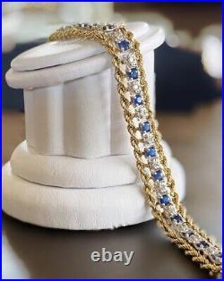 Heavy Wide 14k Gold Sapphire Diamond Bracelet 15gm