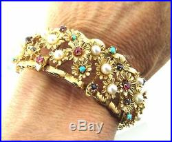 Heavy Wide 14k Gold Vintage Turquoise Sapphire Ruby Pearl Bracelet 53.8g
