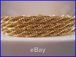Heavy Wide 14k Yellow Gold Rows Of Byzantine Diamond Cut Rope Chain Bracelet 8