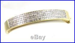 Heavy Wide 18k Gold 4ct Invisible Set Princess Diamond Bracelet Bangle 31.3gms