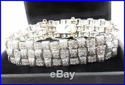 Heavy Wide Designer 18k White Gold 5ct Moissanite Diamond Link Bracelet 52.2g