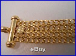 Heavy Wide Ibb Italy 10k Yellow Gold Byzantine Mesh Chain Bracelet 7 1/2 6.81g