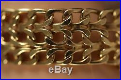 Heavy Wide Italy 14k Yellow Gold Byzantine Panther Curb Figaro Chain Bracelet