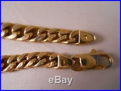 Heavy Wide Italy 14k Yellow Gold Curb Anchor Mariner Figaro Chain Bracelet 12.9g
